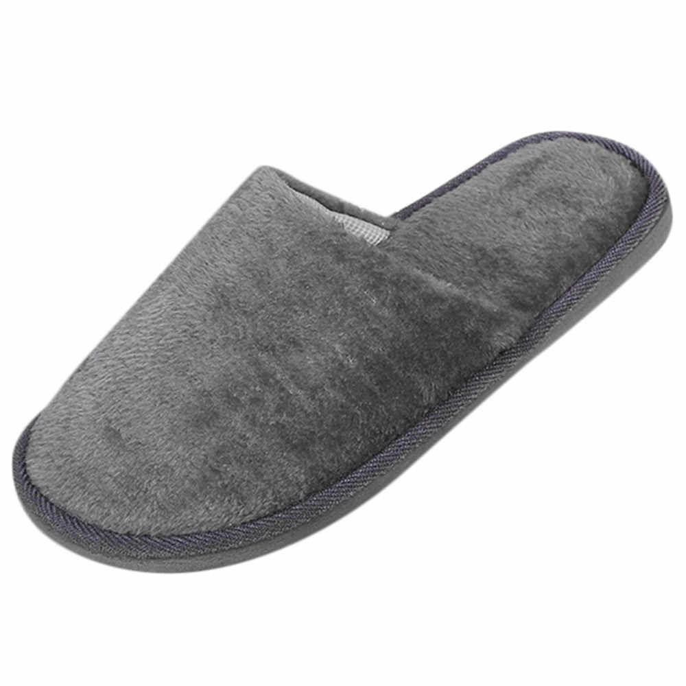 #25 2019 New warm men's slippers short plush flock home slippers for men hard-wearing non-slip sewing soft male shoes
