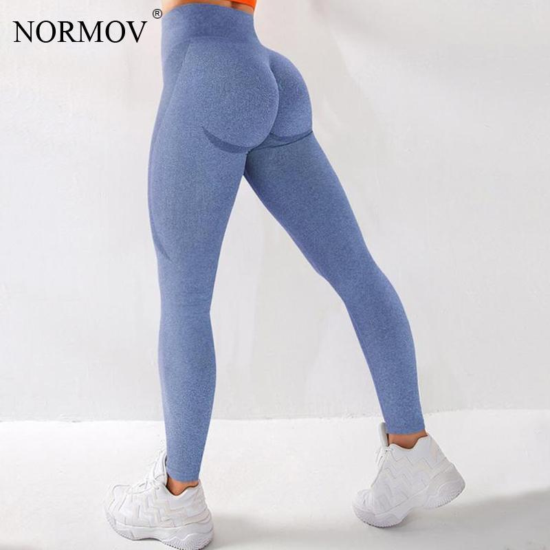 NORMOV Push Up tayt yüksek bel kadın spor egzersiz sıkıştırma Leggins kadınlar koşu dikişsiz seksi spor düz renk Legging