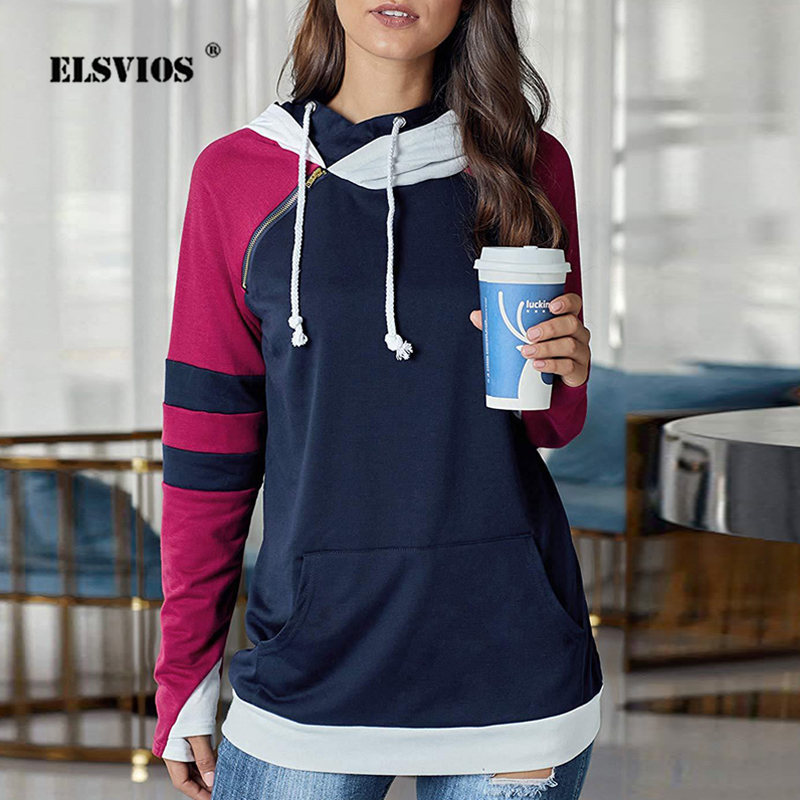 ELSVIOS 5XL Women Patchwork Side Zipper Hoodie Sweatshirt Autumn Winter Hooded Drawstring Tops Femme Long Sleeve Pocket Pullover