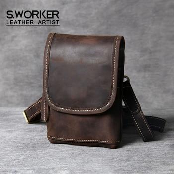 S.WORKER Genuine Leather Mini Men's Shoulder Bag Crossbody Bag Small Chest bag Crazy Horse Cowhide WomenFashion Mobile Phone Bag