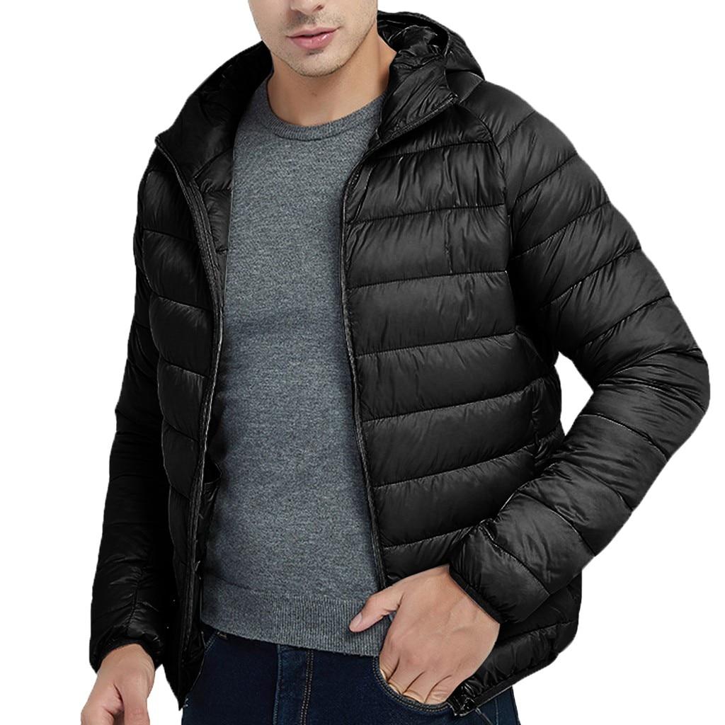H74ca3a8762f440e9b3281d37c14dbc32J Jacket Men Autumn Winter Style Light Weight Overcoat Outerwear Coats Cotton Warm Hooded Men's Jacket Coat chaqueta hombre S-2XL