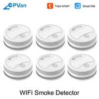 SM05W 6 sztuk/partia detektor dymu WiFi Tuya Smart życie kontrola aplikacji czujnik bezprzewodowy czujnik dymu WiFi detektor czujnik dymu