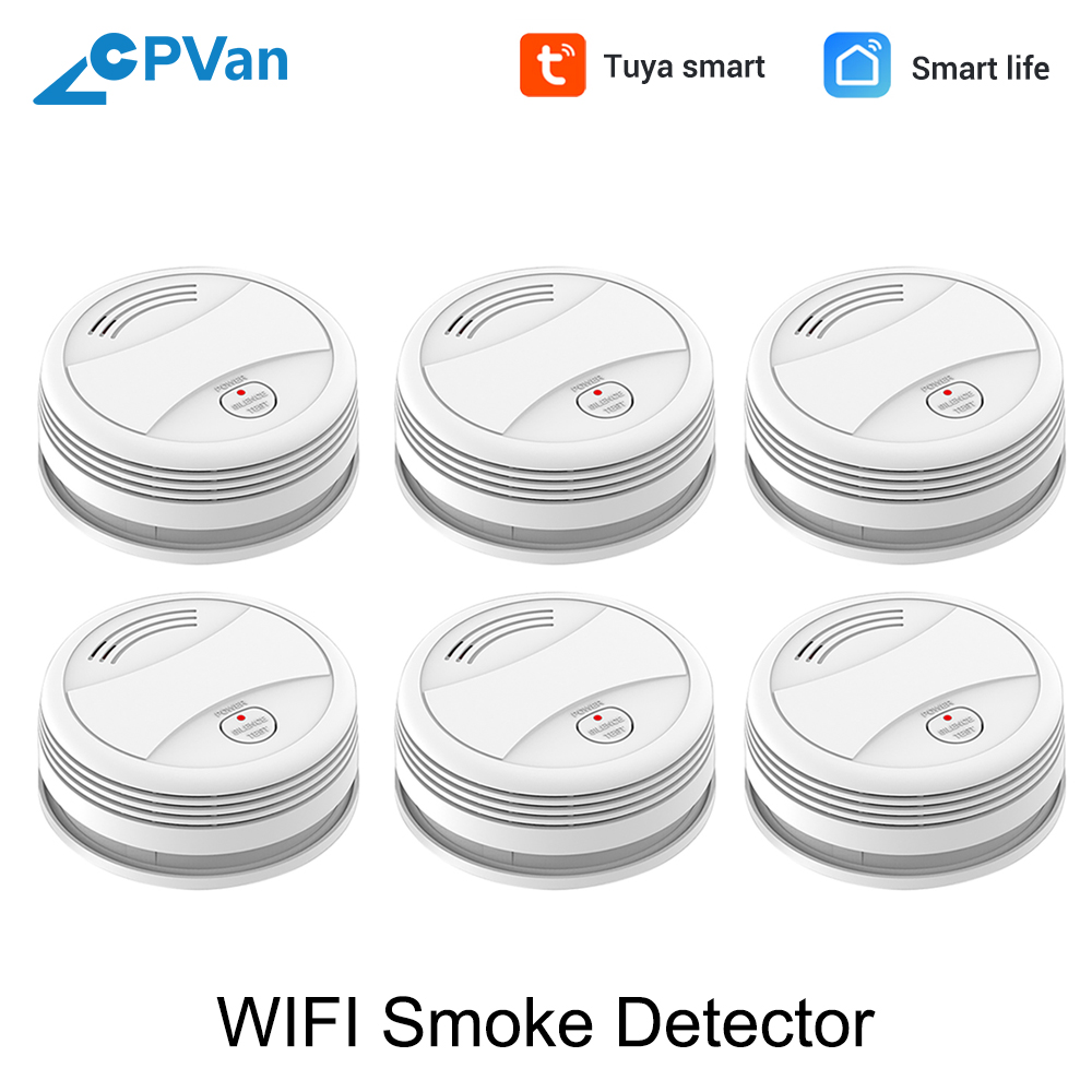 SM05W 6pcs/Lot WiFi Smoke Sensor Tuya APP Smart Life APP Smoke Detector Wireless Smoke Alarm Detector WiFi Detector Fire Alarm