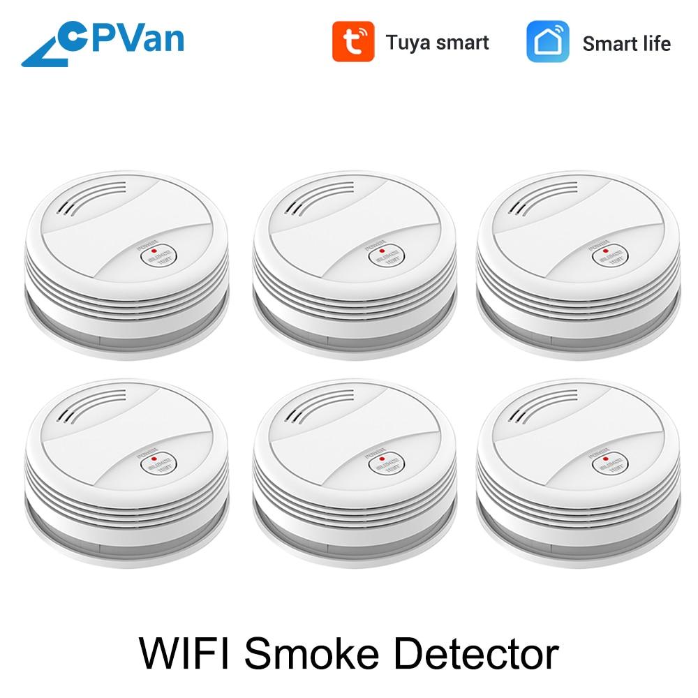 SM05W 6pcs/Lot WiFi Smoke Sensor Tuya APP Smart Life APP Smoke Detector Wireless Smoke Alarm Detector WiFi Detector Fire Alarm