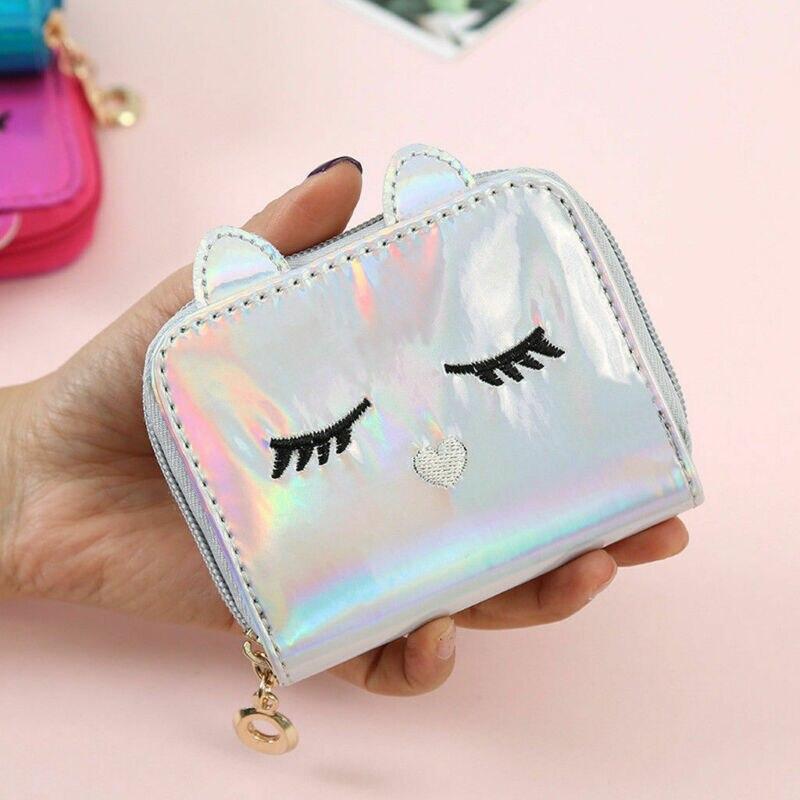 Fashion PU Hologram Wallet Women Cat Girls Kids Small Wallet Cute Baby Coin Purse Bag Kawaii Money Card Holder Handbags Gift