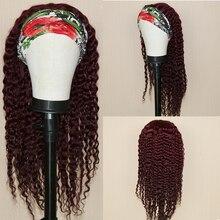 Wigs Headband Human-Hair Full-Machine Glueless Peruvian Curly for Black Women Made 150-Density