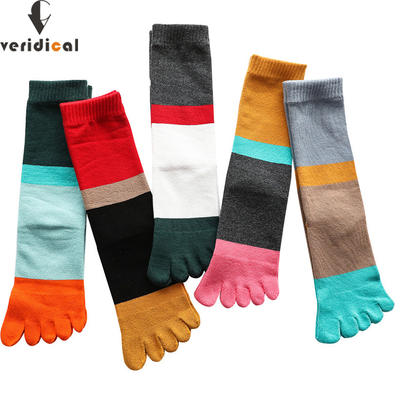 VERIDICAL Large Size Five Finger Socks Woman Combed Cotton Street Fashion Striped Happy Socks Funny  socks With Toes 5 Pairs/lot
