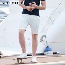Selecionado primavera masculina solto ajuste branco rasgado denim shorts c