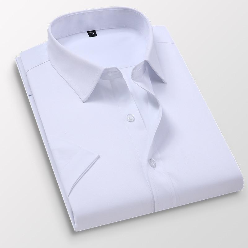 6XL 7XL 8XL Summer New Men's Short Sleeve Shirt Casual Business Formal Dress Shirts for Men White Camisas Slim Fit Men Clothing(China)