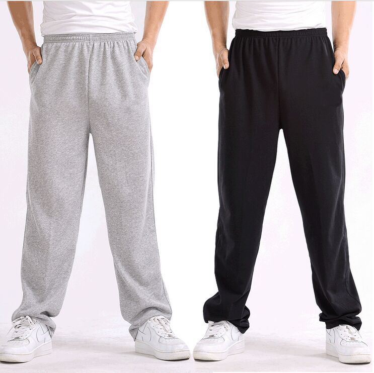 Spring And Autumn Black And White With Pattern Bib Overall Men's Plus-sized Gymnastic Pants Solid Color Cotton Closing Casual Pa