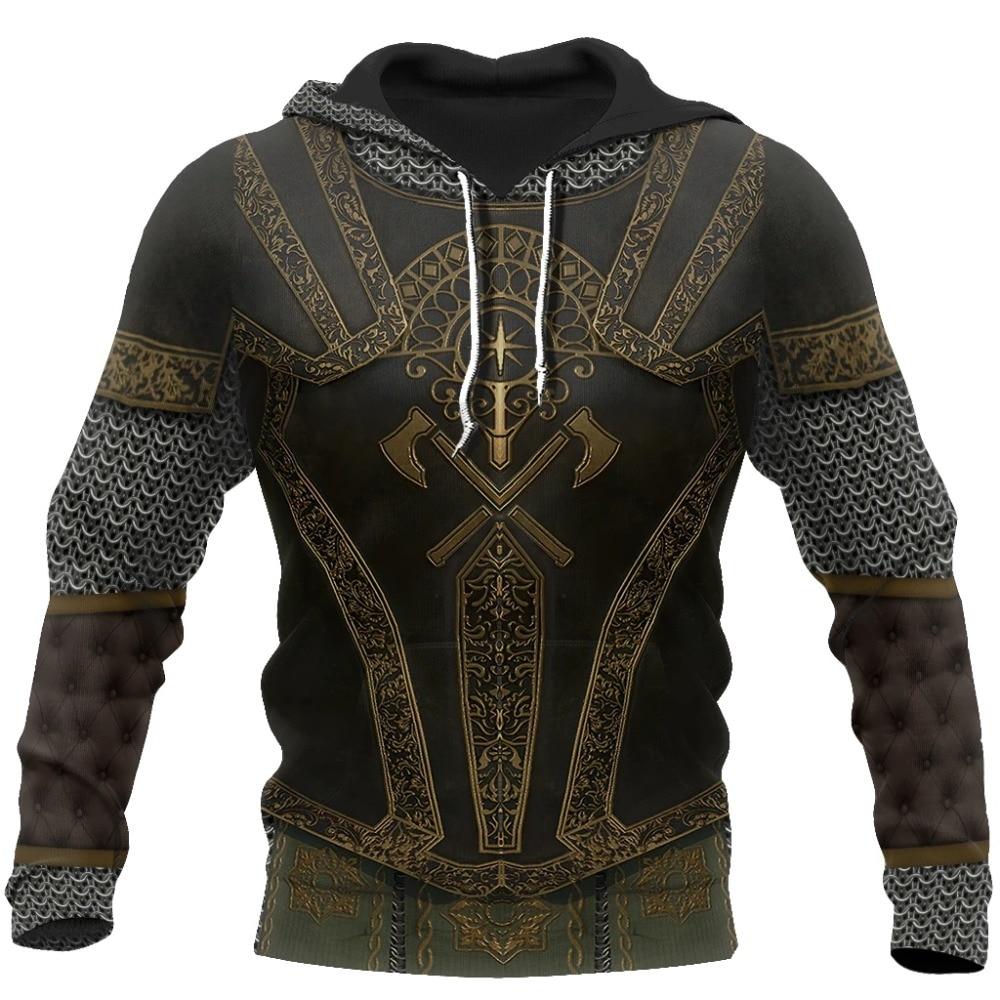 3D All Over Printed Medieval Knight Armor Hoodie Harajuku Fashion Hooded Sweatshirt Unisex Jacket Cosplay Zip Hoodies 0031