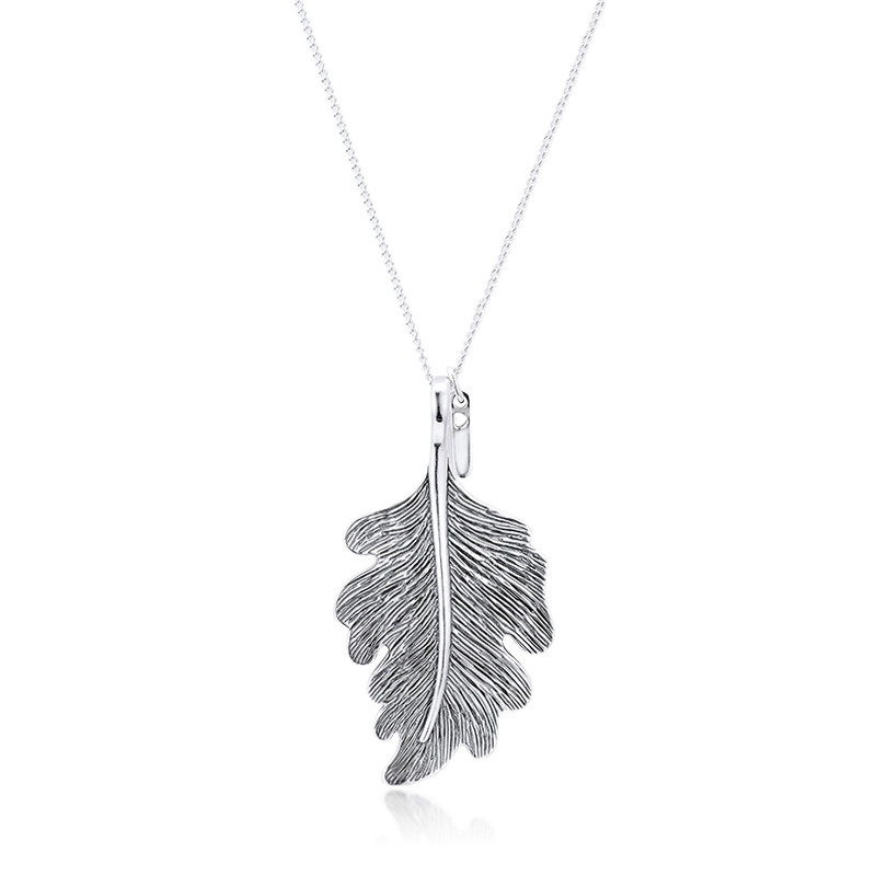 100% Real 925 Sterling Silver Necklace Women Oak Leaf Chain Pendant Necklaces Original Jewelry Making Collares