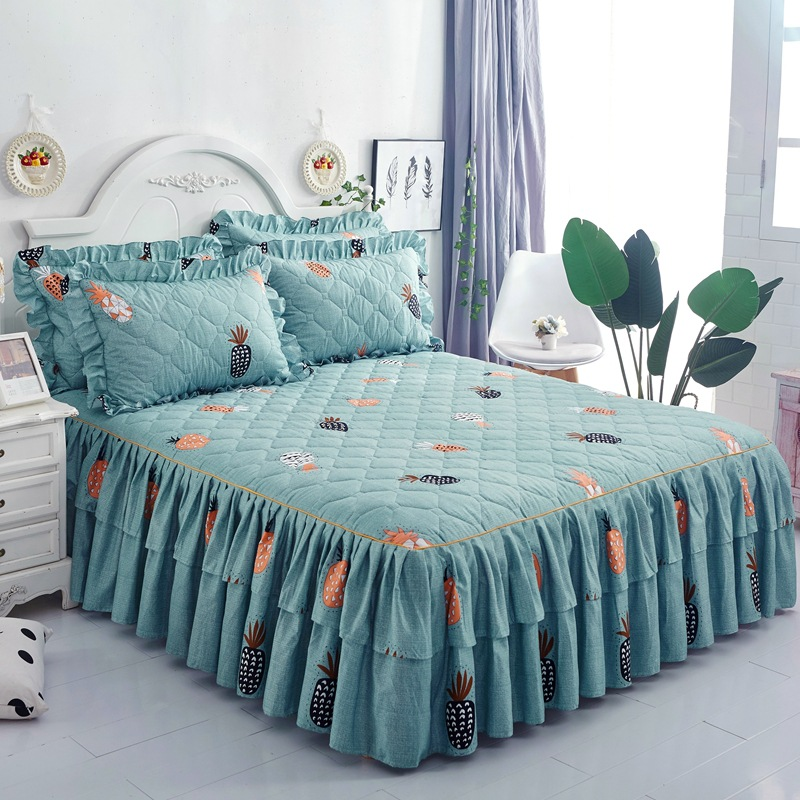 Yaapeet Princess Bedding Bed Skirt Pillowcases Winter Thick Warm Lace Bed Sheets Mattress Cover King Queen Size Bed Cover