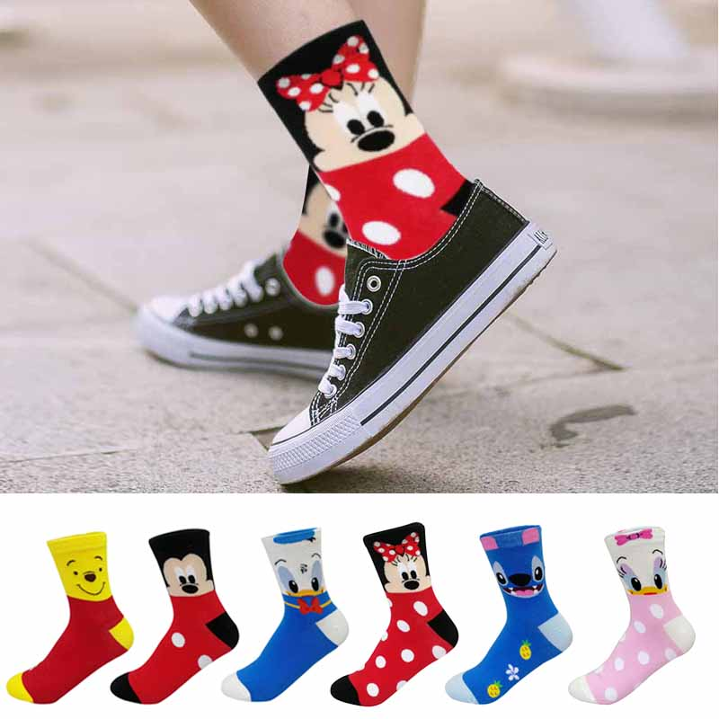 H74cad1a8069f474d92d3e3aaa33a9772h - Disney 5 Pairs/Lot Casual Cute women Scoks Cartoon animal Mickey Mouse Donald Duck invisible ankle Socks Cotton happy Funny sock