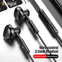 Ihuigol 8D Metall 3,5mm Jack Verdrahtete Kopfhörer Sport Earbuds Noice Cancelling Telefon Headset Mit Mic In-Ohr Stereo surround Kopfhörer
