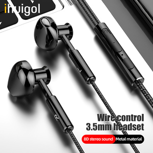 ihuigol 8D Metal 3.5mm Jack Wired Earphone Sport Earbuds Noice Cancelling Phone Headset With Mic In-Ear Stereo Surround Earphone