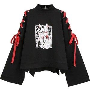 Летняя женская одежда, футболка для девочек в стиле «лолита» с принтом «Лиса», Весенняя черная юбка-топ в стиле Харадзюку