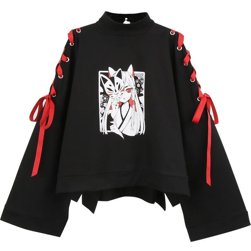 Summer Women's Clothing Anime Fox Printed Cross Ribbon Women Girls' T-shirt Harajuku Spring Black Cotton Top Skirt Hoodies