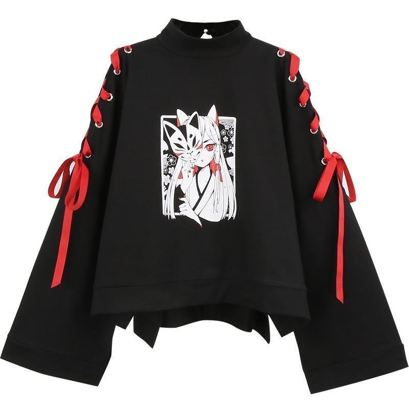 Summer Women's Clothing Anime Fox Printed Cross Ribbon Women Girls' T-shirt Harajuku Spring Black Cotton Top Skirt Hoodies