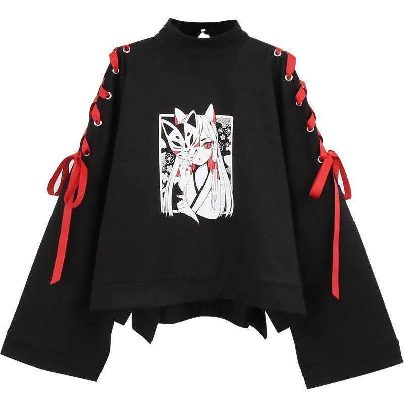 여름 여성 의류 애니메이션 폭스 인쇄 크로스 리본 여성 로리타 소녀 t 셔츠 하라주쿠 봄 블랙 탑 스커트 후드