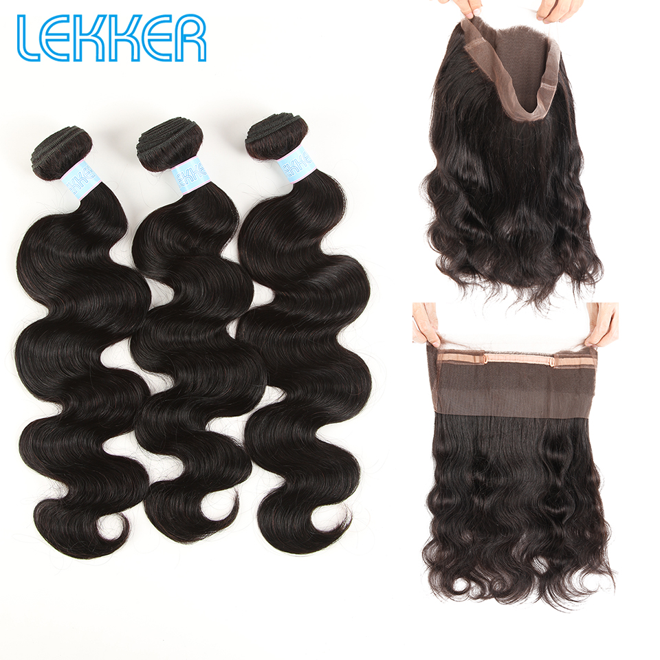 Lekker Body Wavy Bundles With Closure Brazilian Hair Weave Bundles 360 Lace Frontal 3 Bundles