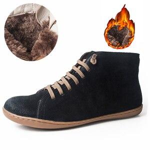 Image 1 - נשים סתיו קרסול חורף מגפי יחף בלרינה עור מקרית נוח באיכות רך בעבודת יד נעלי מגפיים עם פרווה 2020