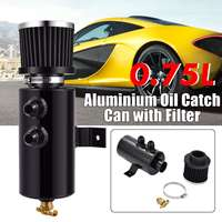 Univeral 2x AN10 Black Aluminium Car Baffled Engine Oil Catch Can 750ml with Twin Port Breather Filter Kit Fuel Tank Cans
