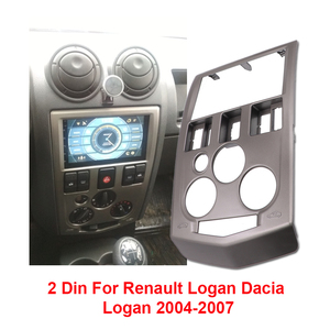 Image 1 - 2 Din Car Audio Radio Fascia For Renault Logan Dacia Logan 2004   2007 DVD Player Stereo Panel Frame Mount Dash Installation