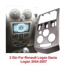 2 Din Âm Thanh Xe Ô Tô Đài Phát Thanh Fascia Cho Renault Logan Dacia Logan 2004   2007 Đầu Máy DVD Stereo Bảng Khung Gắn GẠCH NGANG Lắp Đặt