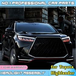 Автомобильные аксессуары для фары Toyota highlander 2018 2019 Новый Kluger/highlander все светодиодный фонарь светодиодный DRL динамический сигнал поворота
