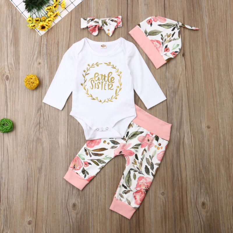 2PCS Newborn Toddler Baby Girls Tops Romper Floral Pants Outfits Set Clothes USA