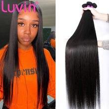 Luvin 28 30 40 Polegada pacotes de cabelo humano em linha reta do osso brasileiro ofertas naturais produtos virgem cru duplo desenhado por atacado