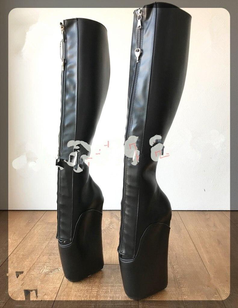 18CM High Heel Ballet Boots Women Black