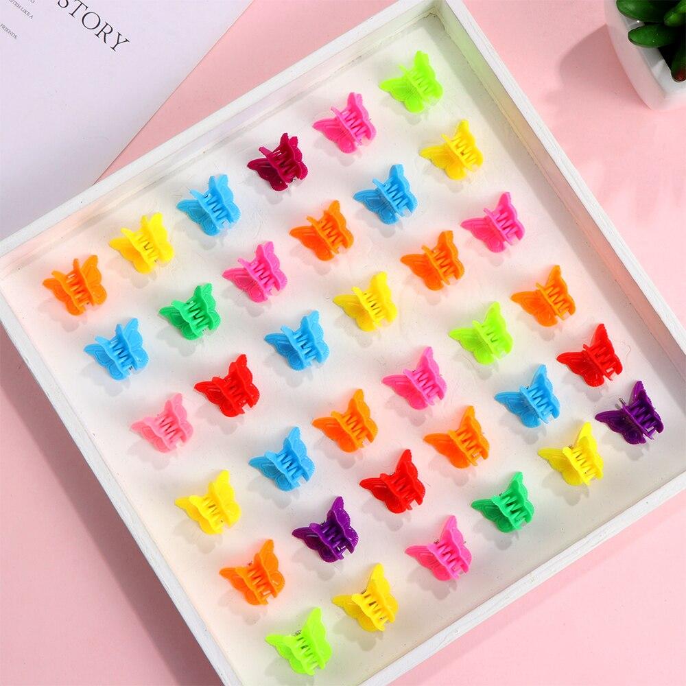 20 шт. цветные мини-заколки для волос с бабочкой, заколки для волос, Разноцветные Мини-заколки, Симпатичные шпильки, аксессуары для волос для женщин и девушек