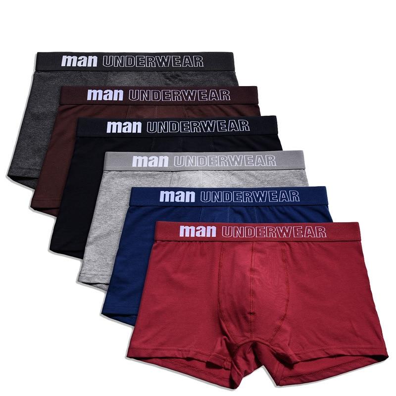 6 pçs/lote algodão dos homens cuecas boxer homens respirável interior solido macio flexível boxershorts cueca vetement