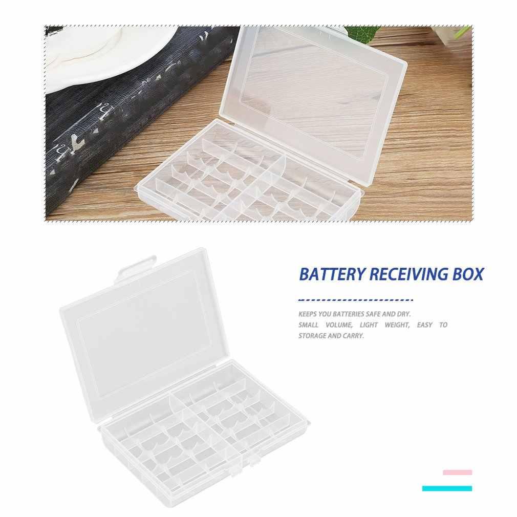 Case Plastik Keras Transparan LEISE 8002 Baterai Penyimpanan Case Pemegang Penyimpanan Kotak Baterai untuk 10 X AA atau 14 X baterai AAA