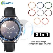 2w1 szkło hartowane do Samsung Galaxy Watch 3 45mm 41mm prędkość Tachymeter metalowy pierścień Bezel do Galaxy Watch3 osłona ochronna tanie tanio Hangrui CN (pochodzenie) Przypadki Dla osób dorosłych Zgodna ze wszystkimi Retail Wholesale For Samsung Galaxy Watch3 41MM 45MM