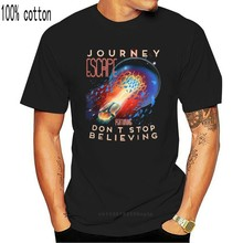 Journey Music Band T Shirt Steve Perry DonStop Believing Blk Cotton Sm 5Xl