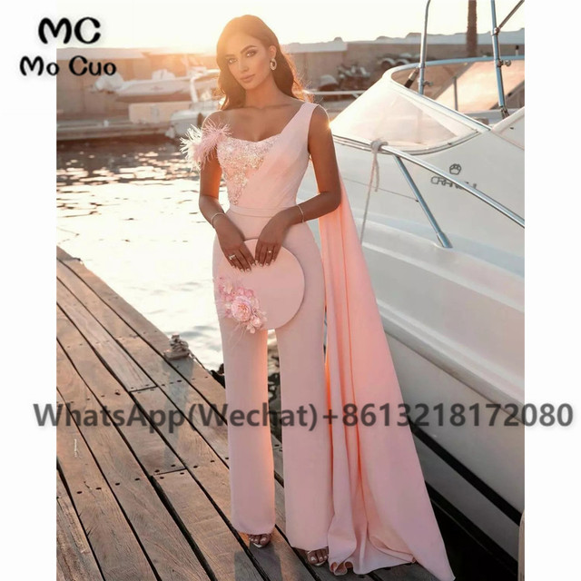 2021 Chic Jumpsuit Prom Dresses Pants One Shoulder Celebrity Dress Appliques Feather Sweetheart Prom Dress for women 1