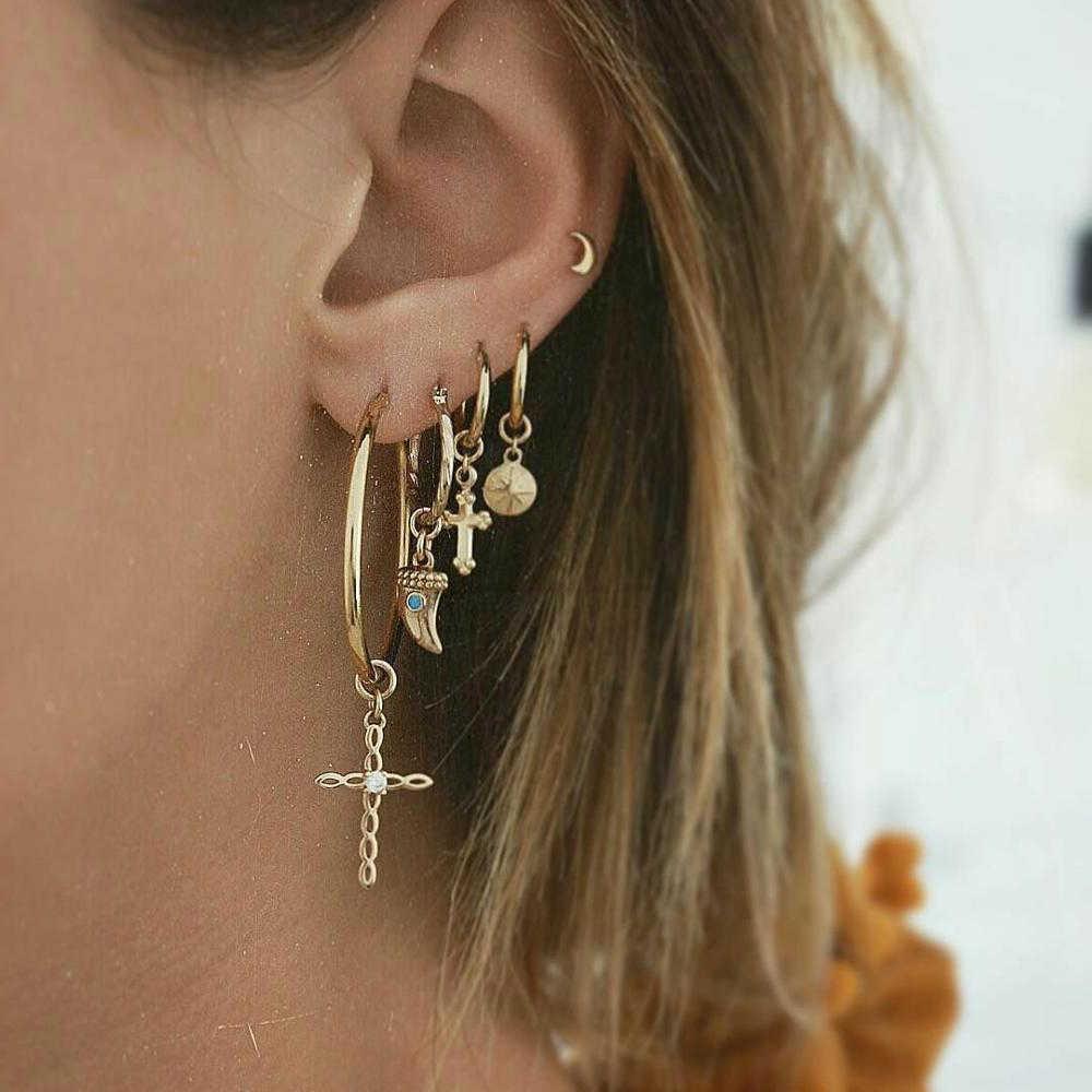 Fashion Ladies Earrings Cross Crescent Star Drop Dangle Hoops Set Jewelry Z