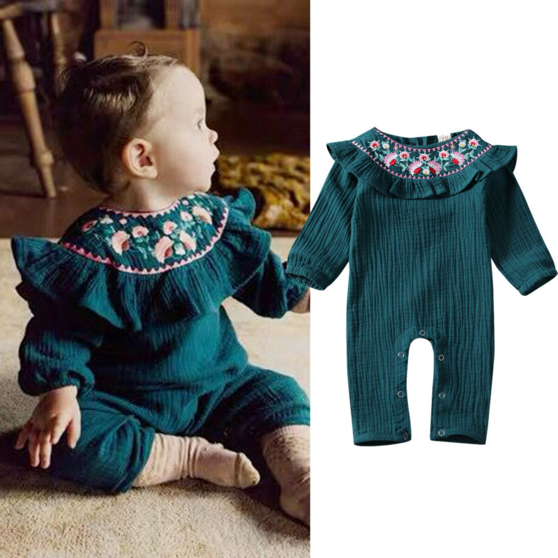 Baby Romper Vintage Newborn Kid Baby Girl Solid Clothes Flower Long Sleeve Embroidery Ruffle Elastic Cuffs Jumpsuit Outfit