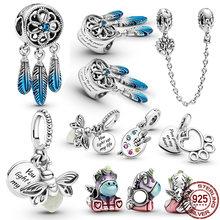 CodeMonkey, 925 пробы, Серебряное сердце океана, серия бусин, талисманы, оригинальные подходящие браслеты и браслеты для женщин, модное ювелирное и...
