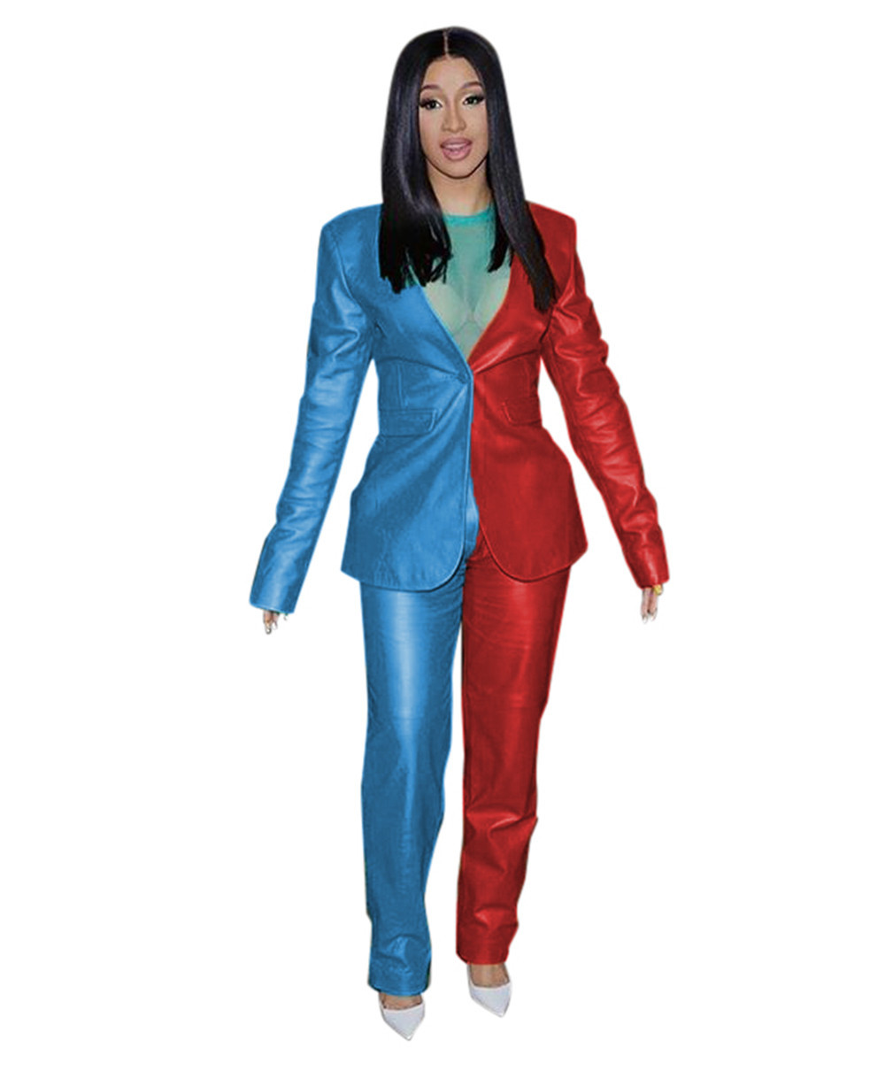 Echoine Autumn Patchwork women suits PU Elegant blazer set Casual OL Business Office Ladies suits Two Piece Set Matching Set