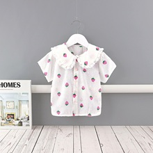 Midoo Fairy 2021 Summer Girls Kids Children's Cotton Shirt Top Blouse Cute Strawberry Print Lace Short Sleeve Casual Clothes