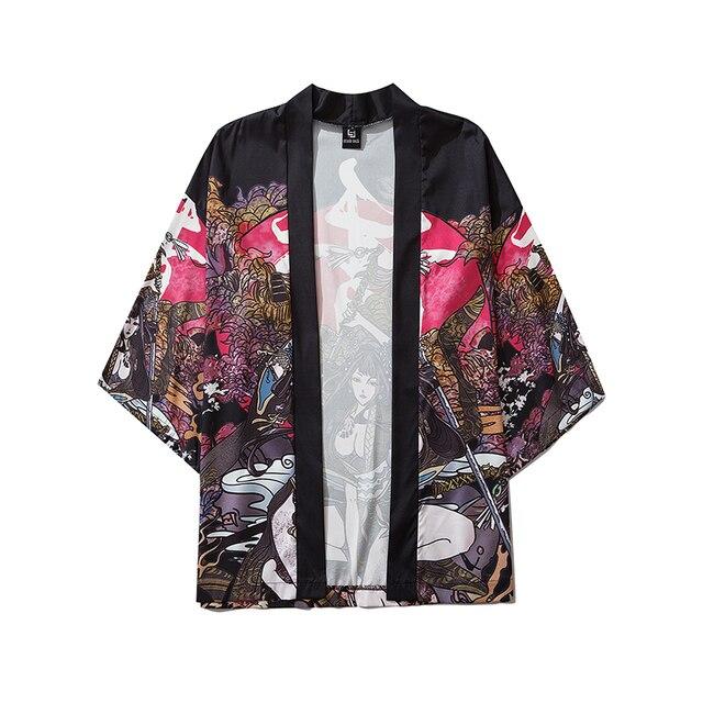 Bebovizi letnie piękno samuraj tradycyjne Kimono japońskie Anime ubrania sweter Cosplay mężczyźni kobiety Yukata koszula damska bluzka
