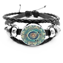 2019 New Classic Style Buddhist Chakra Glass Round Gem Black Leather Mens Bracelet, Gift Party Essentials