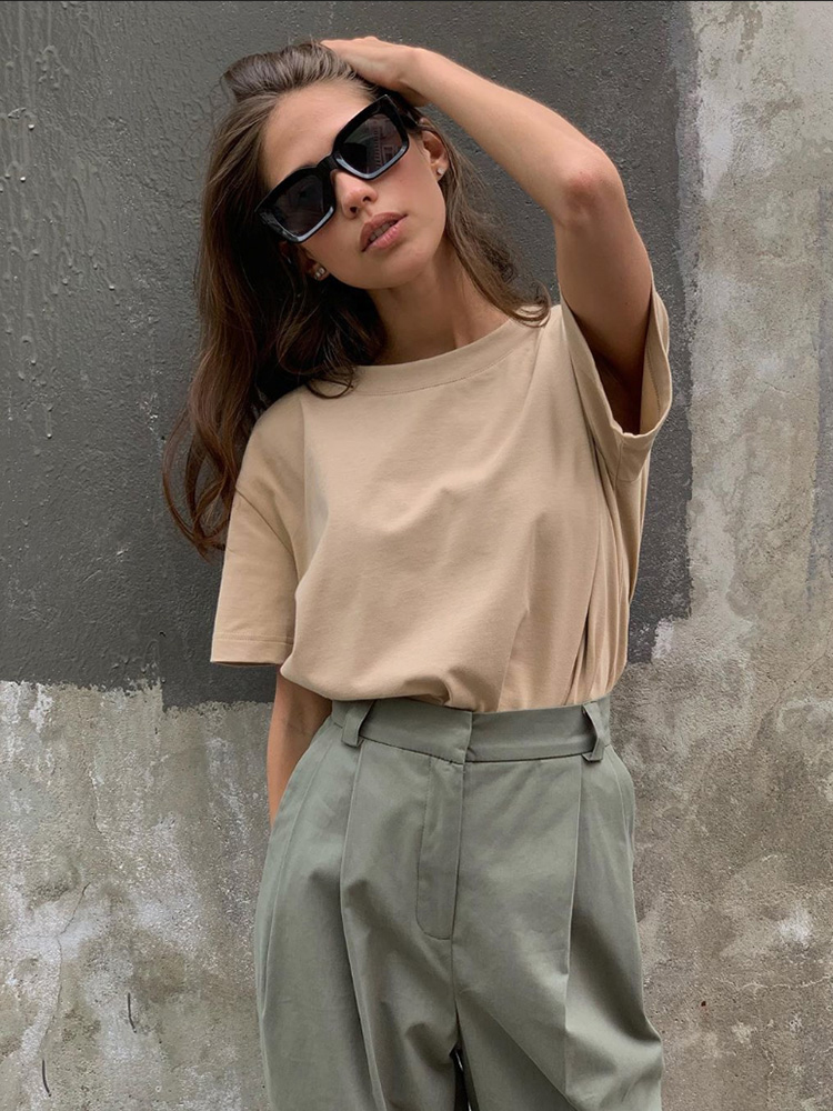 Female Tops Short-Sleeve T-Shirt women Basic Summer Knitted WOTWOY Casual Cotton Solid