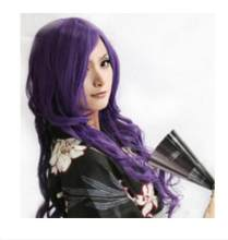 Xd j002039 Hittebestendige Cosplay Nieuwe Lange Dark Purple Curly pruik(China)