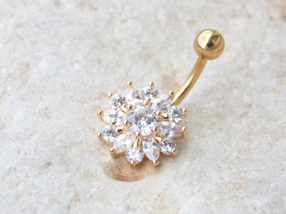 H74cc8acc22744b778877c45c5fc723fcx Navel Piercing Body Jewelry Crystal Flower Belly Button Ring