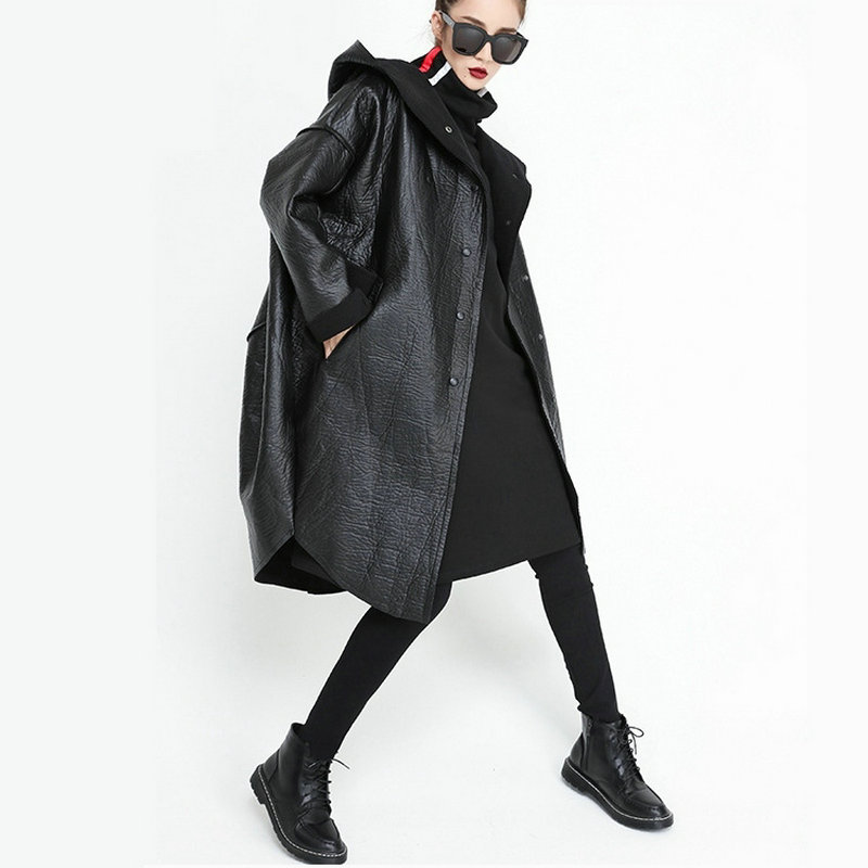 Loose Fit Hooded Black Pu Leather Thick Oversize Jacket Coat Women Winter Autumn Warm Fleece Linning Long Faux Leather Parka